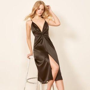 The Reformation Robertson Silk Black Dress XS